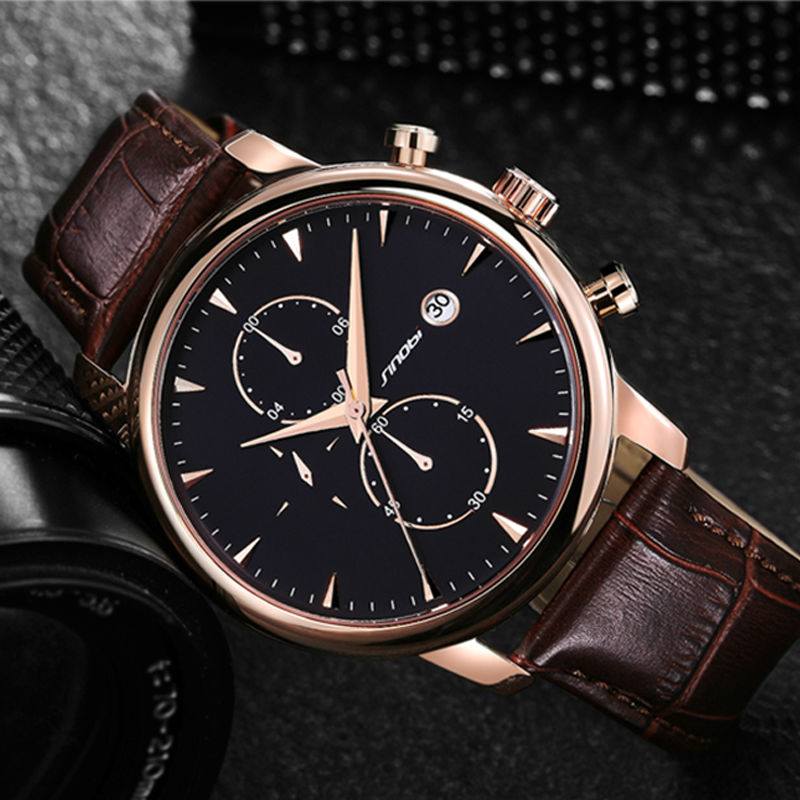 SINOBI Chronograph Sports Mens Wrist Watches Leather Watchband Top Luxury Brand stopwatch date Male Business Dress Clock Saatler sinobi sports chronograph men s wrist watches digital and quartz boys military diving watchband top luxury brand male clock 2016
