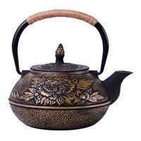 IALJ Top Uncoated teapot iron teapot iron pot, peony big iron pot 900 ml