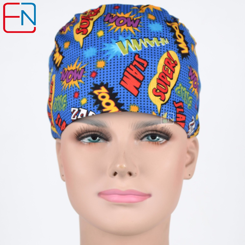 Unisex Surgical Caps In Blue With Woo Super Design