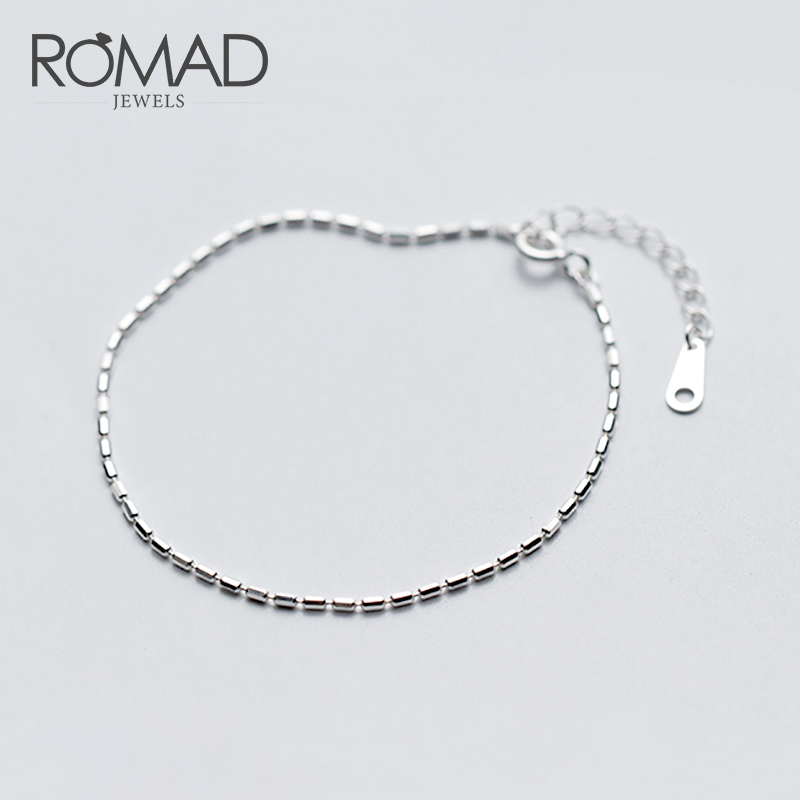 ROMAD Simple 100% 925 Sterling Silver Bracelets For Women Geometric Rectangle Beaded Bracelet Female Fashion Jewelry R4