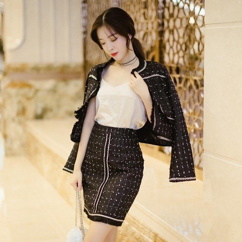 Jupes 2019 Glands Femmes Vêtements Black Tenues Tricoté Deux De Noir Mode Pièces Bureau Élégant Automne Ensemble Tweed Veste Dames Avec ZUwqWrtnZY