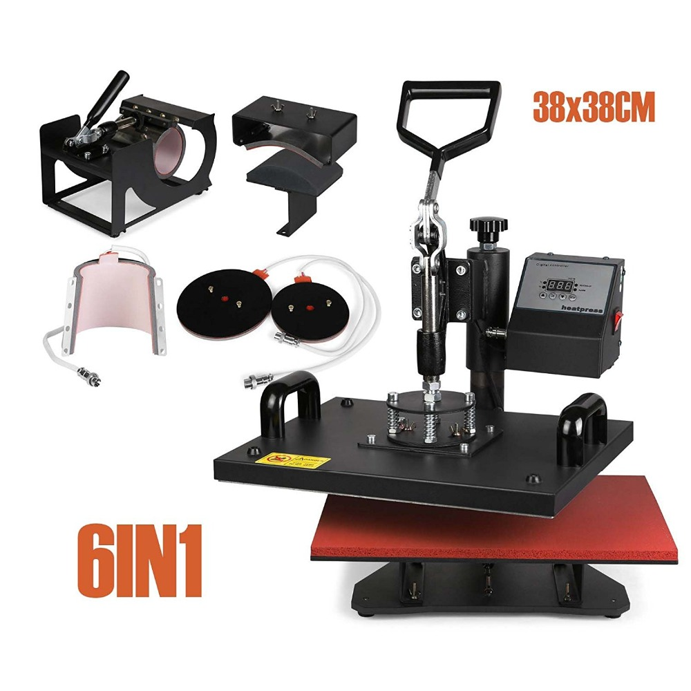 Heat Press Machine 6in1 38x38cm Multifunction Sublimation Desktop Iron Baseball Hat Press 15x15