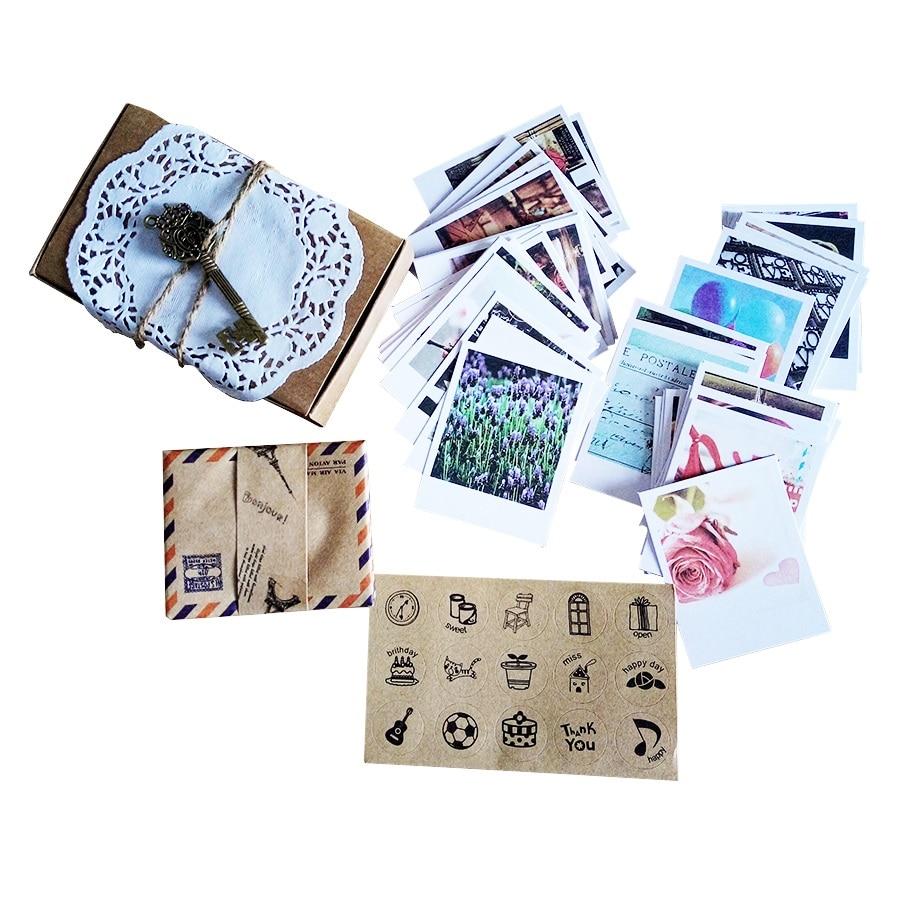 60 Vintage Cards 60 Envelope With 60 Stickers Cute Postcard Set LOMO Mini Greeting Card Kraft Envelope Fashion Gift Wholesale