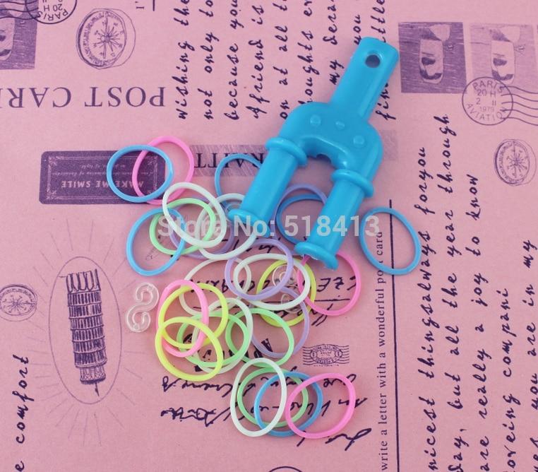 HOGNSIGN bricolage à la main perlé couleur Noctilucent tissé Bracelet corde arc-en-ciel tissage main anneau élastique manuel fête fille jouets