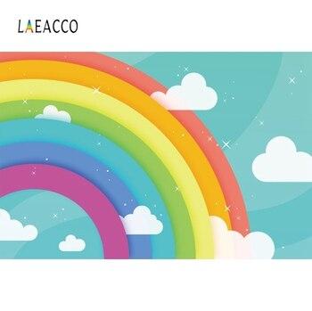 Laeacco arco-íris backdrops para fotografia festa de aniversário do bebê nuvem brilhante estrela papel de parede poster foto fundos estúdio