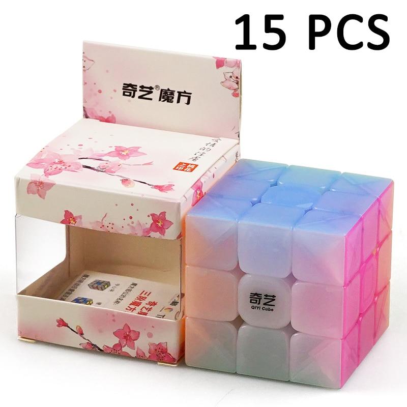 15 pcs QiYi Guerrier 56mm Non Autocollant Magique cube Concurrence Lisse 3x3x3 Cubo magico Jouets gelée couleur Trois-couches Neo Cube Jouets