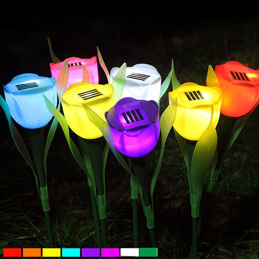 Waterproof Outdoor Garden Solar Power LED Tulip Flower Shape Light Lamp Romance Lawn Yard Landscape Decoration Christmas Lights