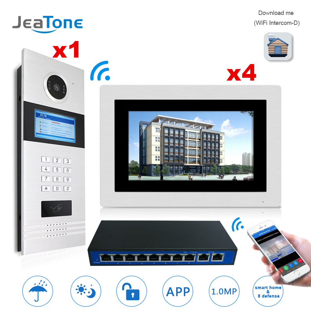 7'' Touch Screen WIFI IP Video Door Phone Intercom +Switch 4 Floors Building Access Control System Support Password/IC Card 7 inch password id card video door phone home access control system wired video intercome door bell