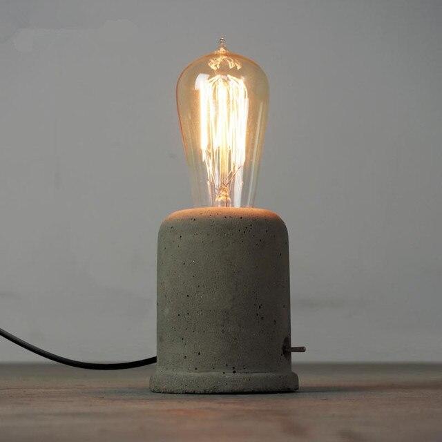 Vintage Loft Concrete Cement Table Lamps Bedroom Bedside Home Decor Desk Light Abajur Luminarias Bar