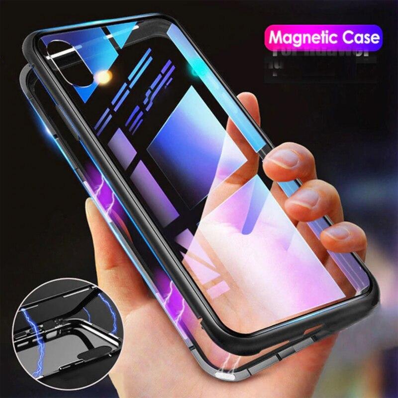 Metal Caso de Adsorção Magnética Para iphone 7 8 Mais Caso Para iphone X XR XS Max 6 6S Telefone Temperado ímã de vidro Capa Protetora