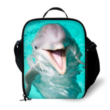 3D Dolphin Print Children Lunch Bag Durable Insulated Lunchbox Small Black Box for Boys Customized cooler