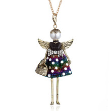 Angel Wing Pearl Head Dot Star Rhinestone Dress Doll Big Choker Necklace&Pendant Women Fashion Long Chain Jewelry Collier Femme statement lace dress girl doll necklace for women angel wing handmade pendant long chain necklace maxi jewelry collier femme