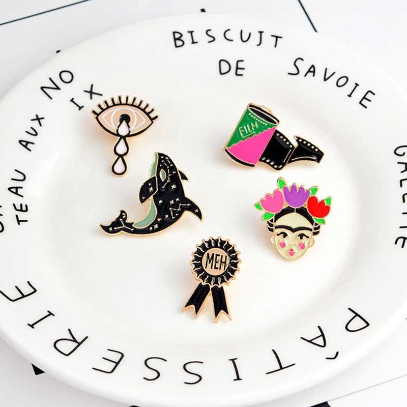 Мультяшная пленка с китами лента MEH медаль слез глаз девушка брошь, эмалированный штифт Кнопка Куртка пальто значок на штифте ювелирные изделия для девочек