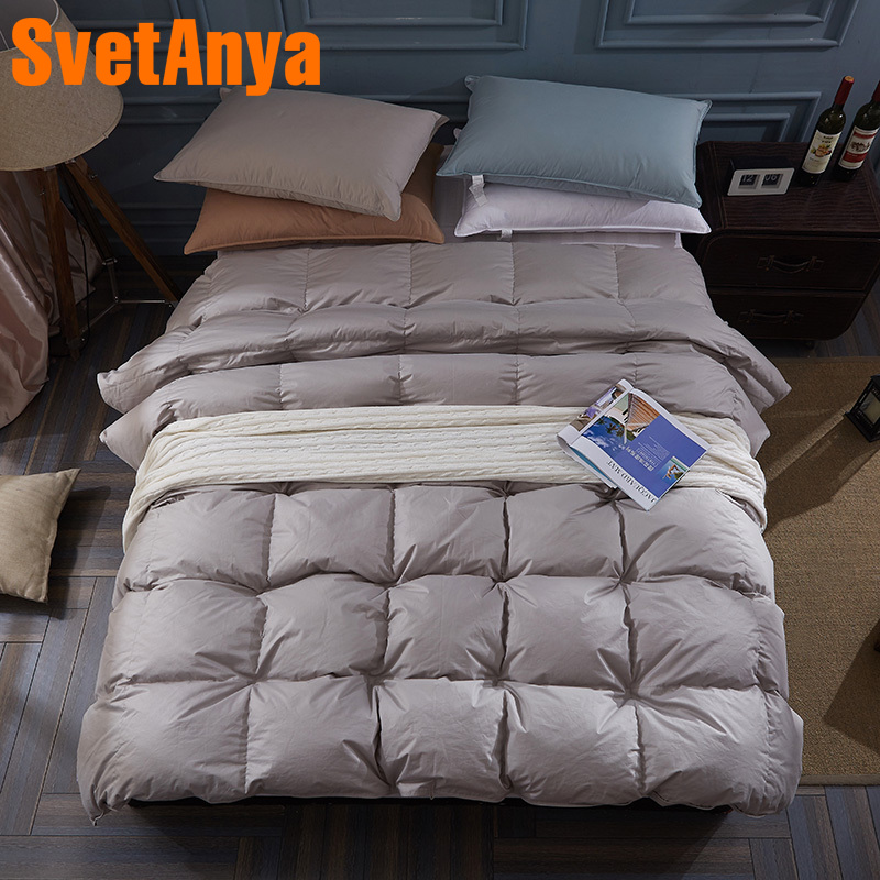 Svetanya Duck Down Duvet thick Cotton Comforter Solid Color Bedding Filler Quilt