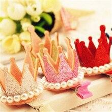 Новая корона шпильки для волос смолы алмазов Gliter жемчуг девушки принцесса короны диадемы детские рождественские танцы ну вечеринку зажим для резинки для волос волос