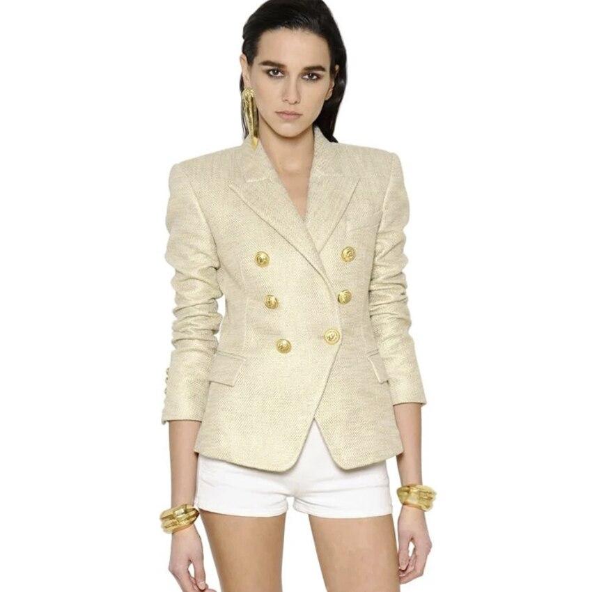 EXCELENTE QUALIDADE 2018 StylishDesigner Blazer para As Mulheres Double Breasted Botões de Leão Pintura Ouro Jaqueta Blazer Plus Size S-3XL