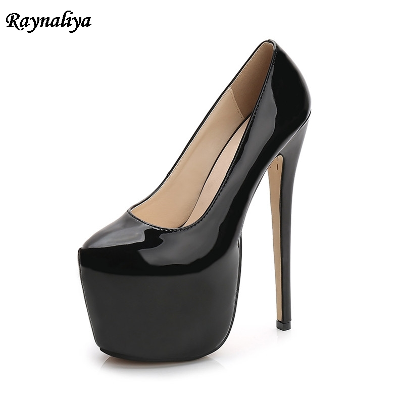 Plus Size 35-44 Spring Autumn New Office Lady Elegant Shoes For Woman Patent Leather Slip On Platform <font><b>High</b></font> <font><b>Heels</b></font> <font><b>18cm</b></font> MS-B0008 image
