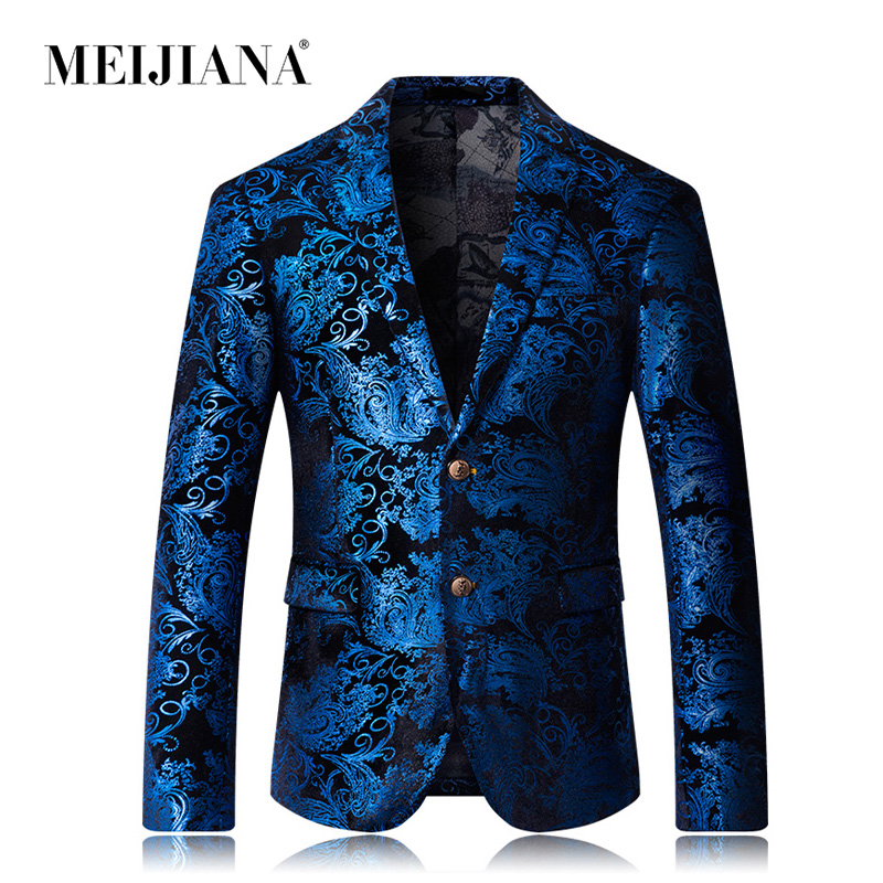 MEIJIANA 2019 New Brand Men Blazer Fashion 3D Floral Print Suit Blazer Single Breasted Party Clothing Slim Fit Blazer for Male