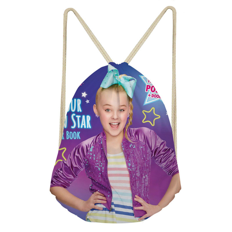 ThiKin JOJO Siwa Drawstring Bag Children School BagLovely Girls Print Casual Daily Shoulder Backpack Mochila Sac A Dos
