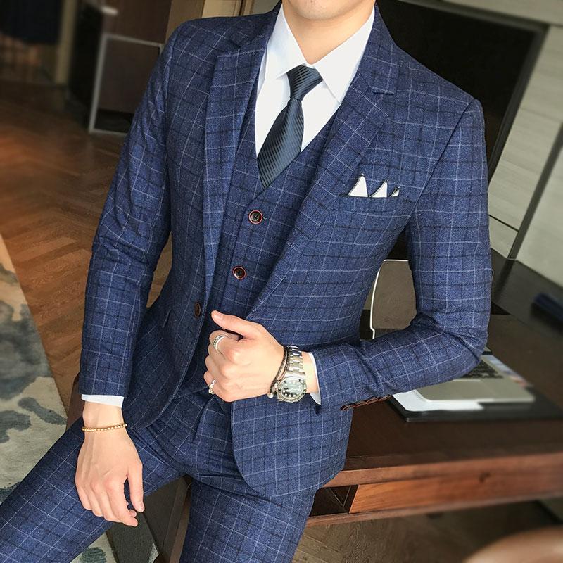 Hommes robe de mariée vêtements de cérémonie costumes bleu Plaid Slim costumes Blazers vestes + gilet + pantalon grande taille nouveau mâle simple boutonnage costumes