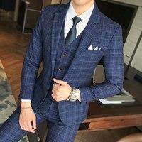 Men Wedding Dress Formal Wear Suits Blue Plaid Slim Suits Blazers Jackets+Vest+Pants Large Size New Male Single Breasted Suits