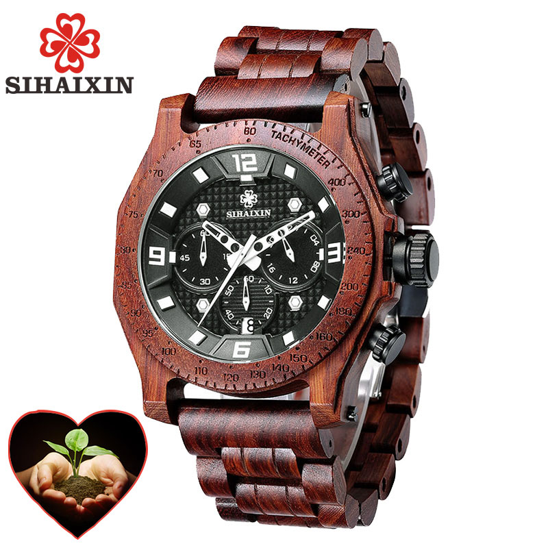 SIHAIXIN Military Wooden Watches For Men Luxury Vintage Chronograph 2018 Role Male waterproof Quartz Stop Watch Boyfriend Gift