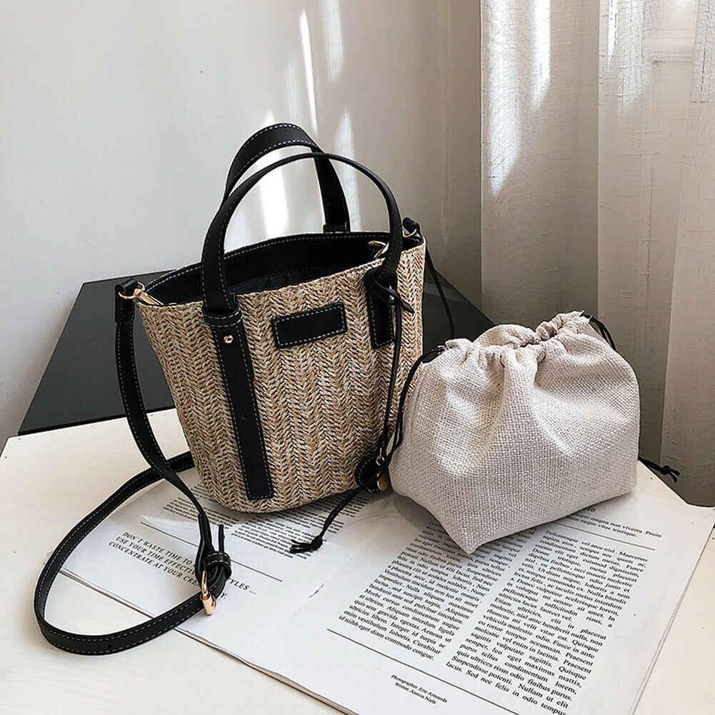 กระเป๋าสตรี 2pcs Straw กระเป๋าคลัทช์ทอมือหวายกระเป๋าถือถัก Crossbody กระเป๋า Bolsos Mujer De Marca Famosa 2019