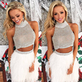 2016 Luxury Graduation Dresses Two Pieces White Prom Party Dress Feather Short Sheer Back Cocktail Party Dresses