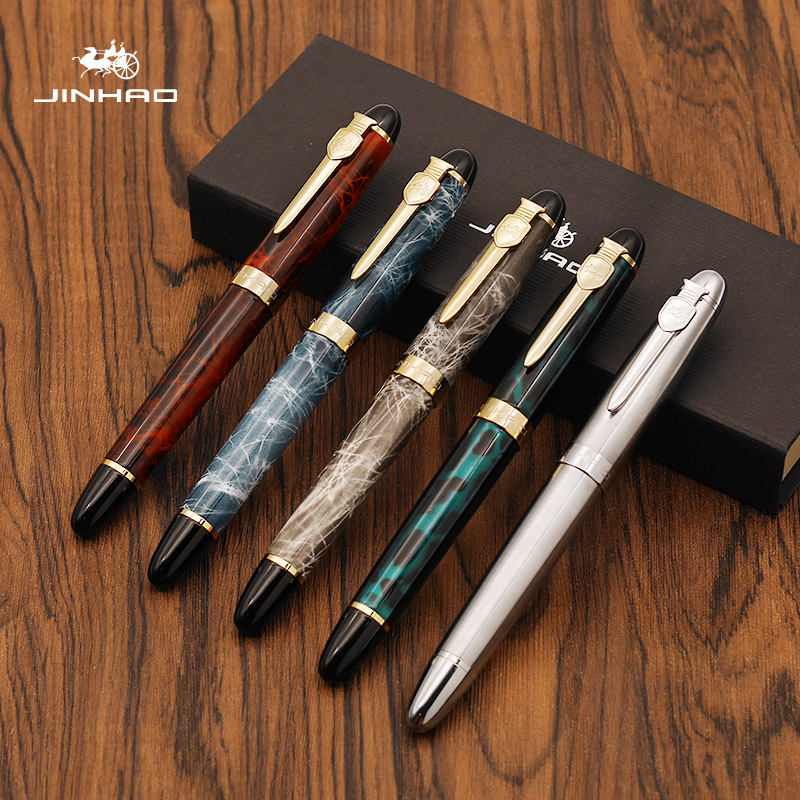 Luxury JINHAO X450A Metal Fountain Pen 0.5MM 18KGP Ink Calligraphy Pens for Writing School and Office Supplies Caneta Tinteiro tengu 7172 4321