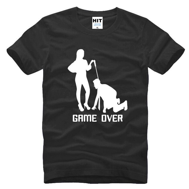 Creative GAME OVER MARRIAGE SLAVE Funny Novelty Mens T-Shirt T Shirt For Men 2016 New Short Sleeve O Neck Cotton Top Tee