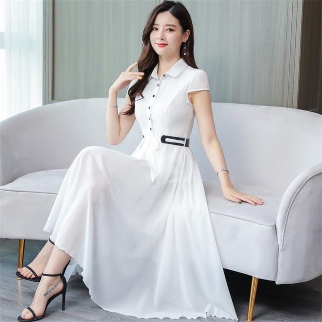 960b15df3cbe8 4XL Kadın Yaz Şifon Elbise Kısa Kollu Rahat Gömlek Elbise Kore Moda Zarif  Artı Boyutu Elbiseler Vestidos Robe Femme
