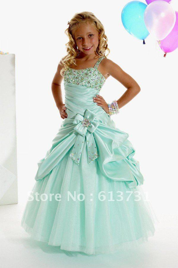 2013 New Style Kids Evening Gowns Green Beading Bow girls evening ...