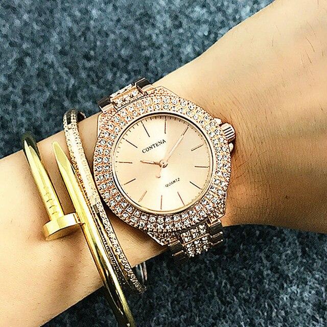 Berühmte Marke Contena Volle Shinny Diamanten Luxus Damen Uhren Neue
