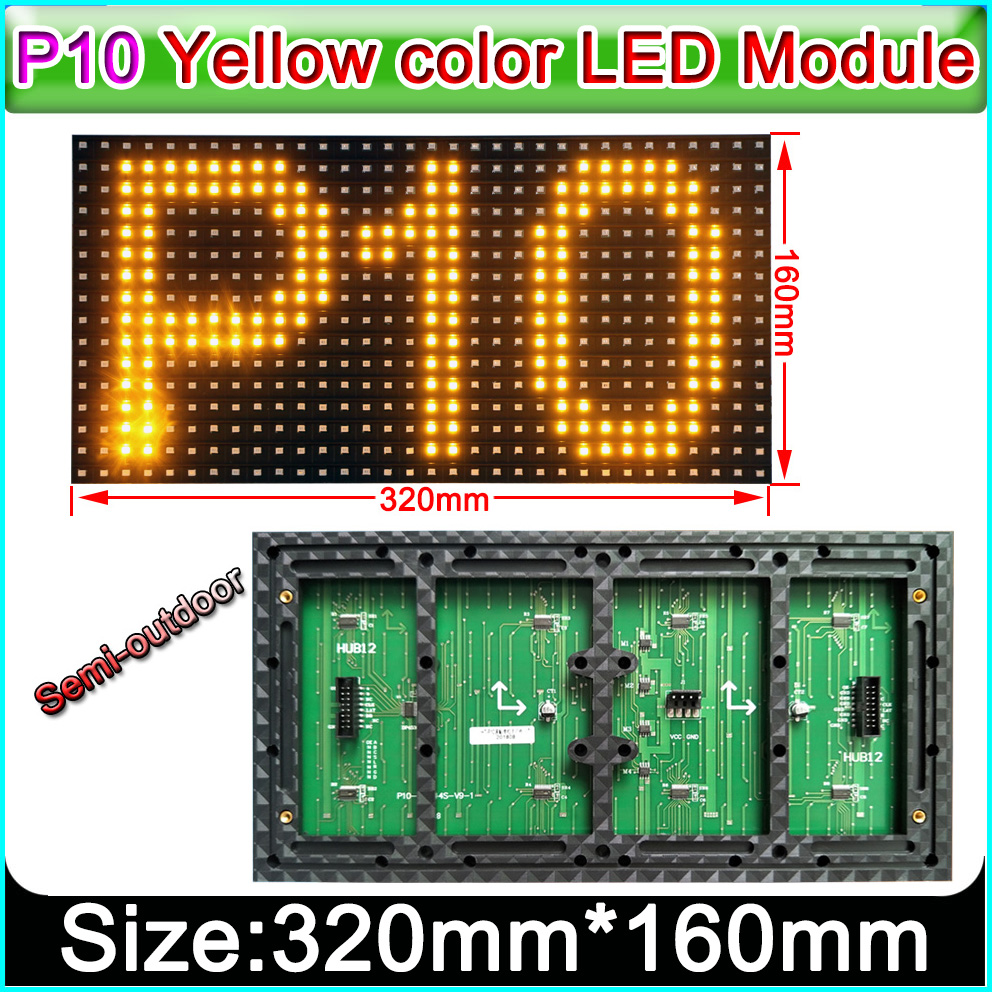 320 X 160mm Semi-outdoor Yellow Color P10 LED Display Panel,Single Color Indoor SMD P10 LED Display Module