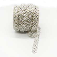SINUAN ABS Rhinestone Chain Tape Rhinestones Pearl White 1Yard Single Row Strass Chain Diy Sewing Bags Crafts Accessories