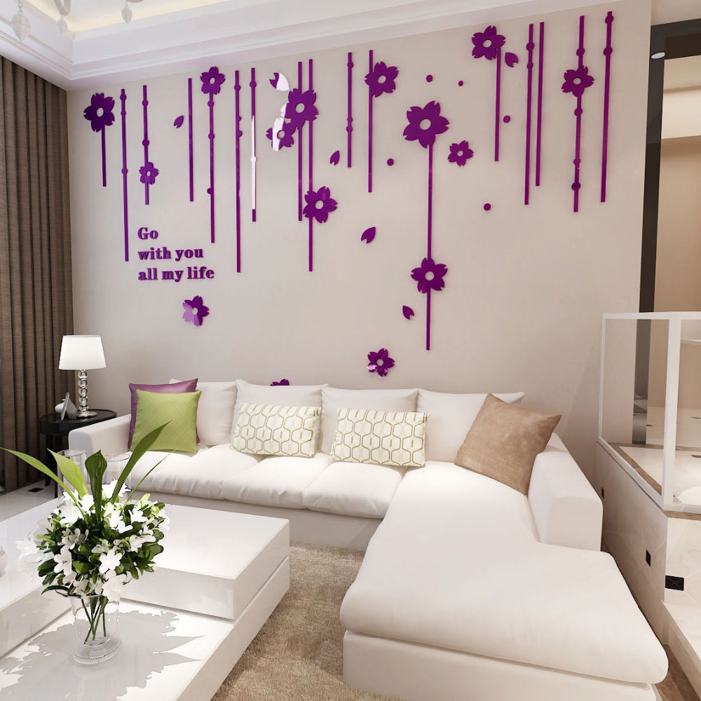 3D Three dimensional crystal Wall Stickers Flower Living room bedroom TV background home decoration Europe Wall Hangings Decals