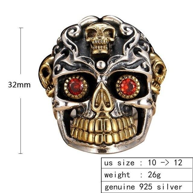 ZABRA 925 argent Sterling rouge zircon cubique yeux crâne anneau mâle or réglable anneaux pour hommes Punk gothique bijoux