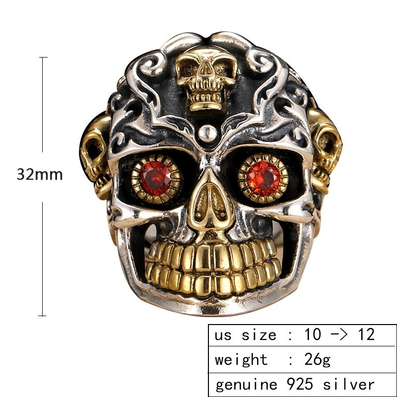 ZABRA 925 argent Sterling rouge zircon cubique yeux crâne anneau mâle or réglable anneaux pour hommes Punk gothique bijoux - 2