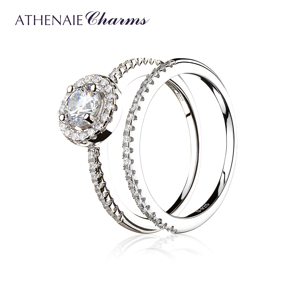 ATHENAIE 925 Sterling Silver Round CZ Finger Rings Classic Elegance Wedding Band Engagement Double Ring Jewelry Women