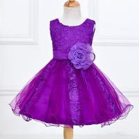 Lace Flower Girl Dresses Tulle Purple Pink White Gkids Princess Frock Costumes Wedding Children Clothing Fashion