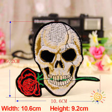 1PC Patches For Clothing Skull With Rose Embroidery 10.6x9.2cm Apparel Bags DIY Accessories