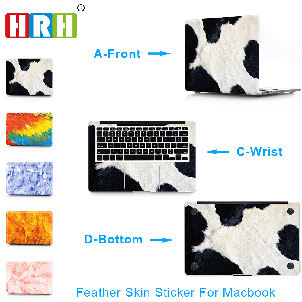HRH 3 in 1 Feather Top+Bottom+Wrist Full Cover Skin Laptop Sticker for MacBook Air Pro Retina 11 12 13 15 Notebook Decal Skin ...
