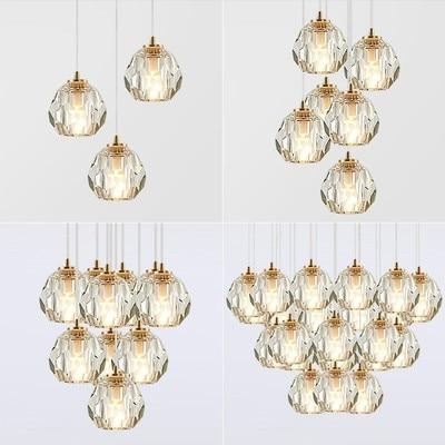 Modern Crystal Pendant Light Singal LED Pendant Lamp Vintage Hanging Light Retro Suspended Lighting For Living Dining Room Decor