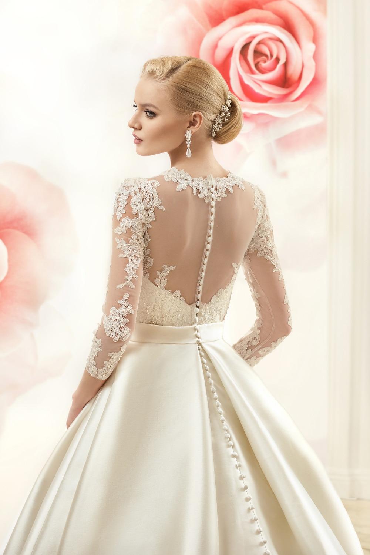 cream beige beige wedding dresses Elliot Claire Sabrina in Jeweled V Neck Light Beige Wedding Dress