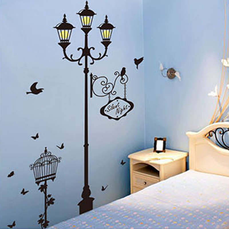 new birdcage light lamp post night lights wallpaper wall stickers diy removable pvc home decor vinyl