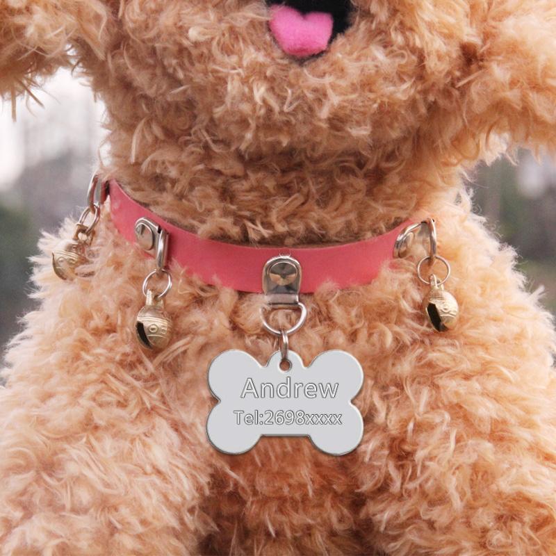 Placas de identificación para perros, con nombre y teléfono 6