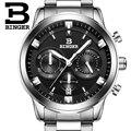 2017 marca Suíça de relógios de luxo homens BINGER quartz completa de aço inoxidável Relógios De Pulso Cronógrafo Mergulhador glowwatch B9011-2