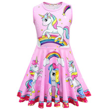 hot deal buy 2019 new lol dolls baby dresses summer sleeveless dress kids party christmas costumes children clothes unicorn girls dress 3-10y