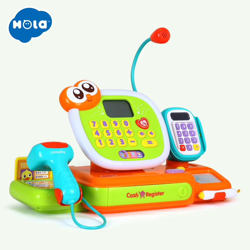 Pretend Play Toy Cashier Cash Register with Real Calculator Vegetable Coins Toys HOLA 3118