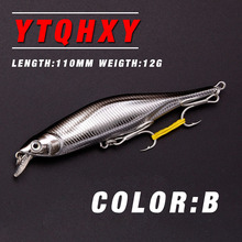 YTQHXY 2017 Good Fishing Lure Minnow Quality Professional Bait 110mm 12g Sinking Minnow Fishing Lures Crankbait 6# hook YE-89